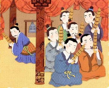 人吹竽_齐闵王也爱听吹竽,可是他和齐宣王不一样,认为300人一块儿吹实在太吵